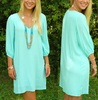V neckline quarter length sleeves Gorgeous flowy loose fit dress in Mint