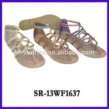 Ladies fashion rhinestones womens sandals flat new designs flat sandals ladies fashion flat sandals