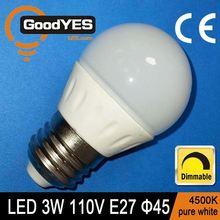CE Certification Dimmable LED Ceramics Globe Bulb Lamp 3W E27 110V Pure White light 4500K [GY-TQ17C-301]