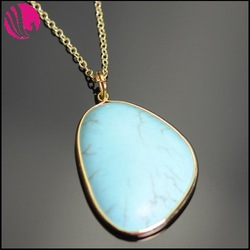 European most popular design turquoise jewelry, natural stone necklace