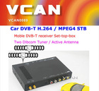 2014 Fashionable best dvb-t2 car tv receiver 2 antenna 2 tuner digital mpeg4 TNT TDT cheap price for sale