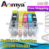 Refillable CLI251 PGI250 ink cartridges for canon with auto reset chip