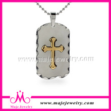 2014 fashion jewelry trendy Corrugated edge dog tag christian