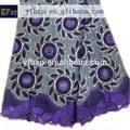 nueva llegada de color púrpura bordado a mano africano cordón suizo de encaje gasa para la ropa