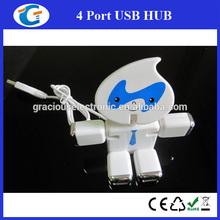 Electronic corporate gifts usb 2.0 4-port hub driver robot shape usb hub