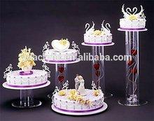 Acrílico bolo redondo pilares para exibição de casamento