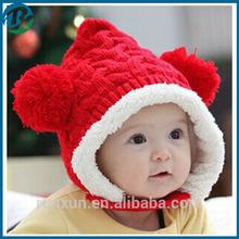 Knitting winter Warm earflap Cap fashion crochet baby hat
