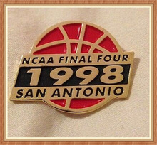 1998 Men's Ncaa Final Four Basketball Lapel Pin San Antonio Soft Enamel Basketball Badge
