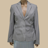 2014 Hot Sale Spring Jacket Women Garment Striped Light Grey Formal Jacket And Vest 2 Piece Set Blazer