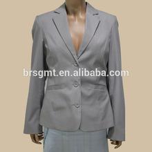 2014 Hot Sale Spring Jacket Women Garment Striped Light Grey Formal Jacket And Vest 2 Piece Set Blazer