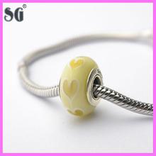 Ice Love White Hearts Murano Glass_Murano Glass Beads Stamped 925_2014 Fascinating Screw Core Glass Beads