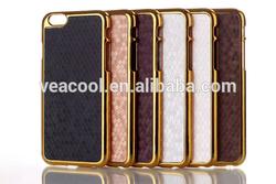 New Luxury Leather Chrome Hard Back Case for Apple iPhone 6 Case