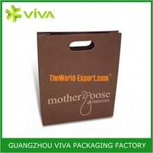Glossy paper stamp logo gift paper bags no handles