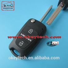 Top quality hyundai flip key case for hyundai verna 3 button flip remote key shell for hyundai key