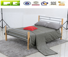 2014 elegant double metal bed frame with wooden legs
