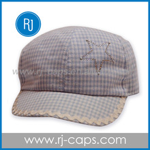 the most popular for kids hot sell checker rhinestone military cap for children
