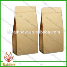 brown kraft paper side gusset coffee packaging bags/kraft paper cement bag