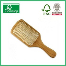 100% Natural Wooden Hair Brush Comb With Wooden Bristles Scalp Massage LARGE