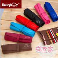 colorful bear carton canvas Volume pen bag/roll pen bag