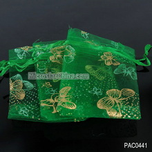 7*9cm Butterfly printed green organza bags