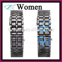 lava style Iron samurai all metal blue LED faceless watch,couple watch