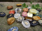 high quality engraved runes various color semi-precious stone