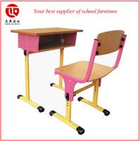 height adjustable student desk and chair metal leg wood top school desk