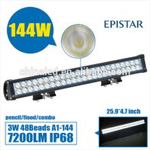 144W Spot Beam Led Light Bars IP67 DC10-30V, Led Offroad Light Bars