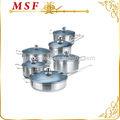 Cozinha real 12 pcs açoinoxidável utensíliosdecozinha conjunto tampa de vidro azul de titânio revestido de pintura exterior msf-3154
