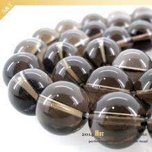 2014 Wholesale price 8mm round bead natural gemstone smoky quartz crystal beaded bracelet wholesale