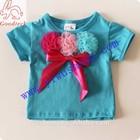 New designs turquoise children girl t shirt,blue short sleeve baby tank tops for summer
