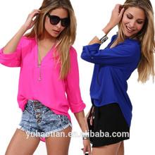 New 2014 summer women chiffon blouse base lady shirt pure Tops half sleeve leisure blusas buttons Street M~XXL