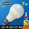 Regulable de alta eficiencia led de cerámica globo bulbo lámpara 7w e27 220v g60 cálida luz blanca 3000k gy-tq27d-701