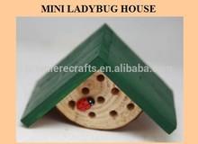 Wooden mini ladybug house with ladybug decor