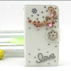New design fashion bling mobile phone case,wallet leather rhinestone case for LG G3 with top quality