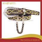 Fashion golden beads inlaid pu leather garter soutache belts