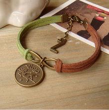 custom letter zodiac charm bracelet handmade suede leather charm bracelet jewelry