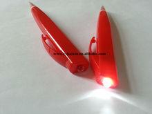Led light plastic ball pen with flashlight