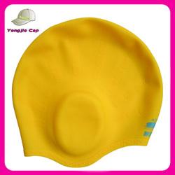 Hot Sell High quality Comfortable custom printed Silicone ear Swim cap
