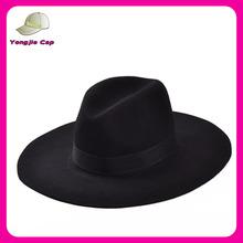 Vintage Retro wholesale Classic Wool Feel Black Women's hats Wide brim Fedora