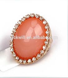 Wholesale fashion jewelry crystal pave oval big orange diamond gemstone ring