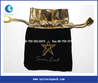 gold hot stamp velvet bag for jewelry and gift packing