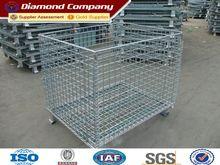 folding warehouse storage cage&folding steel storage cage&galvanized storage metal cage with wheels