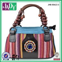 Wholesale ladies wood beads handle bags cotton ethnic fabric wayuu mochila bags 2014