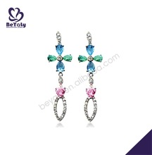 Popular blue and pink cz drop silver earrings made with fabric