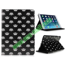 New Arrival Crown Pattern PU Leather Flip Leather Case for iPad Air