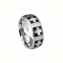 2014 religious cross black epoxy 316 stainless steel jewelry italian design ring italian silver rings finger ring designs LR7450
