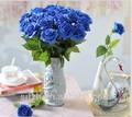 2014 SJ AF090 personalizado flor rosa artificial em festa de casamento flor artificial decoração azul falso de seda rosa de plástico flor