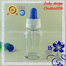 20ml clear square vapor eliquid bottle,glass dropper,child proof cap