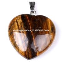 Yellow Tiger Eye semi precious stone heart pendant